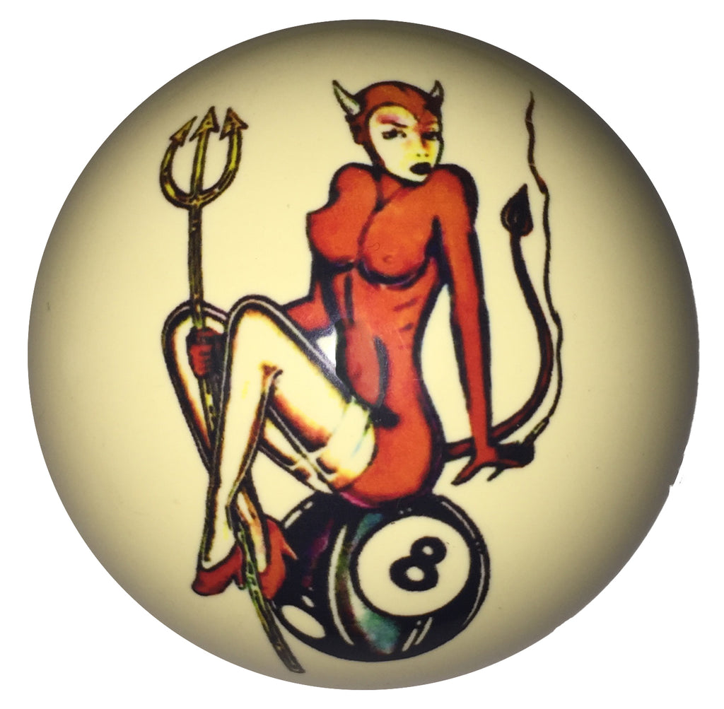 Devil Girl with Pitchfork Pin-Up Custom Cue Ball