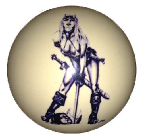 Warrior Girl Pin-Up Custom Cue Ball