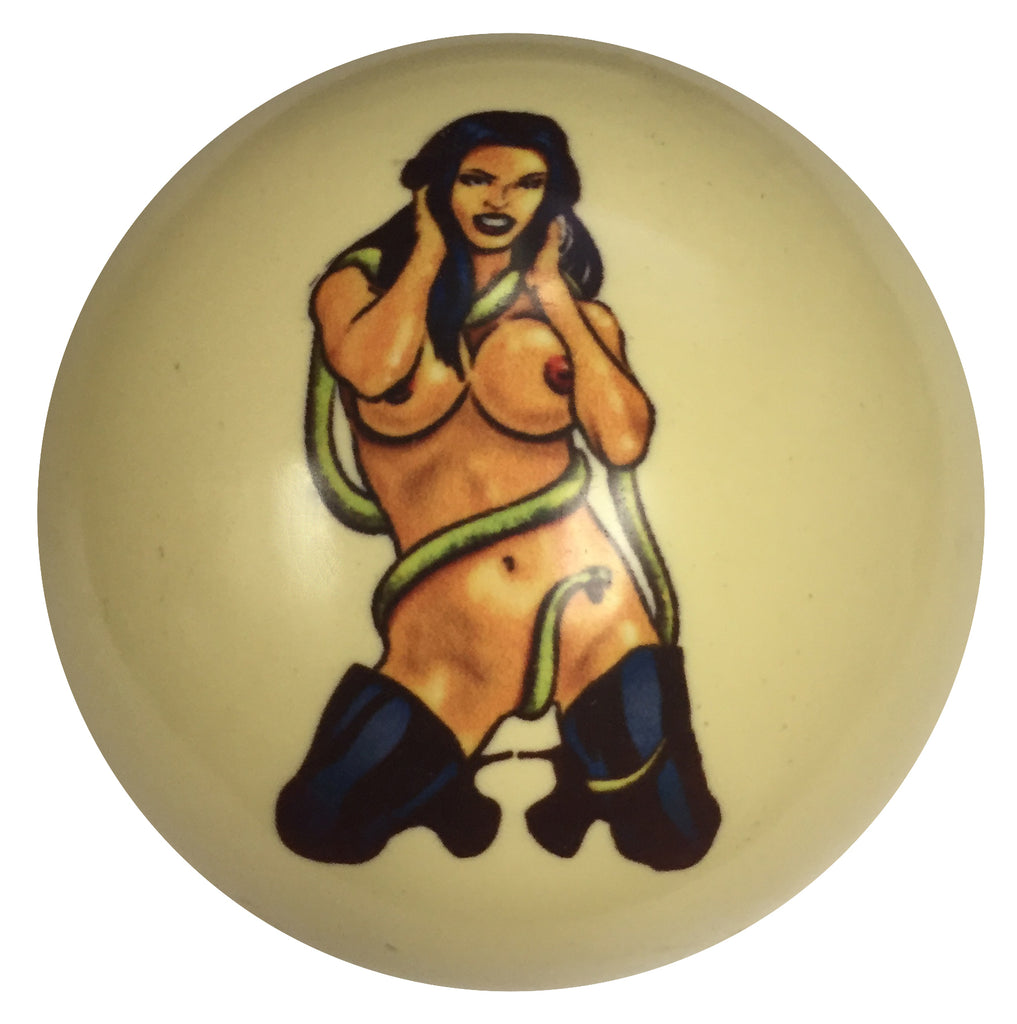 Snake Girl Pin-Up Custom Cue Ball