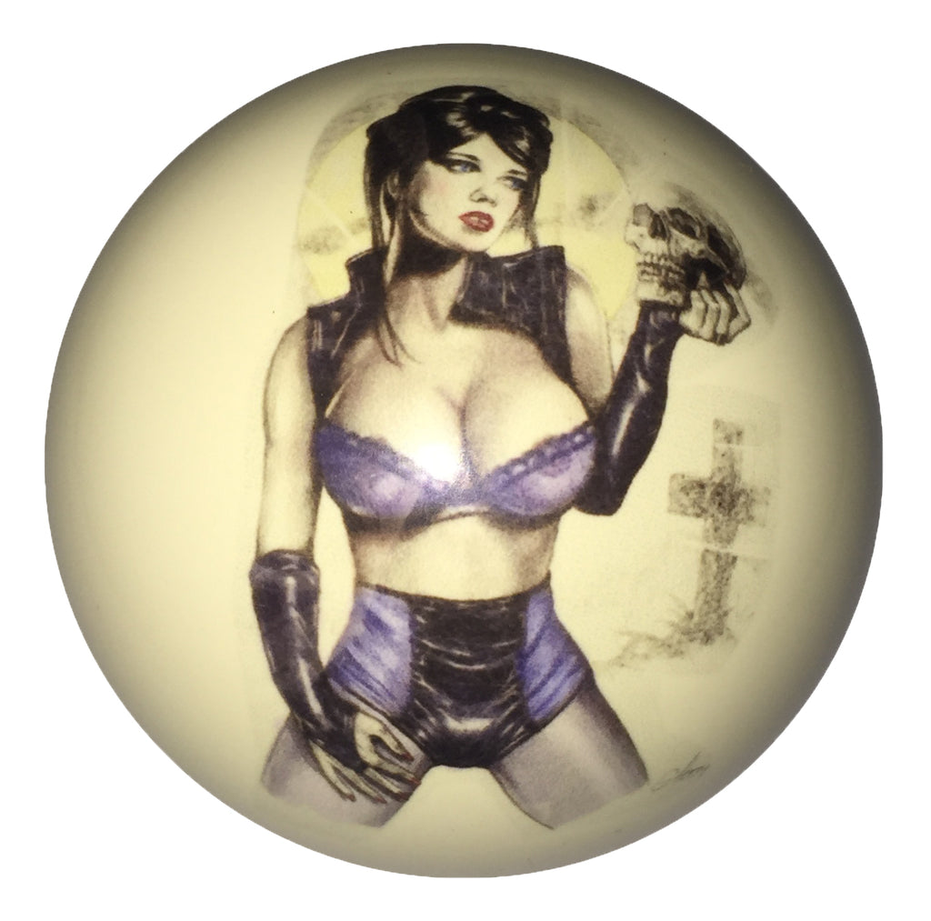 Girl Holding Skull Pin-Up Custom Cue Ball