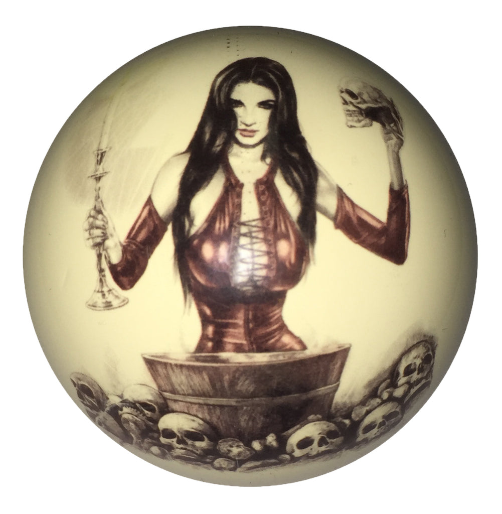 Girl with Candlesticks Pin-Up Custom Cue Ball