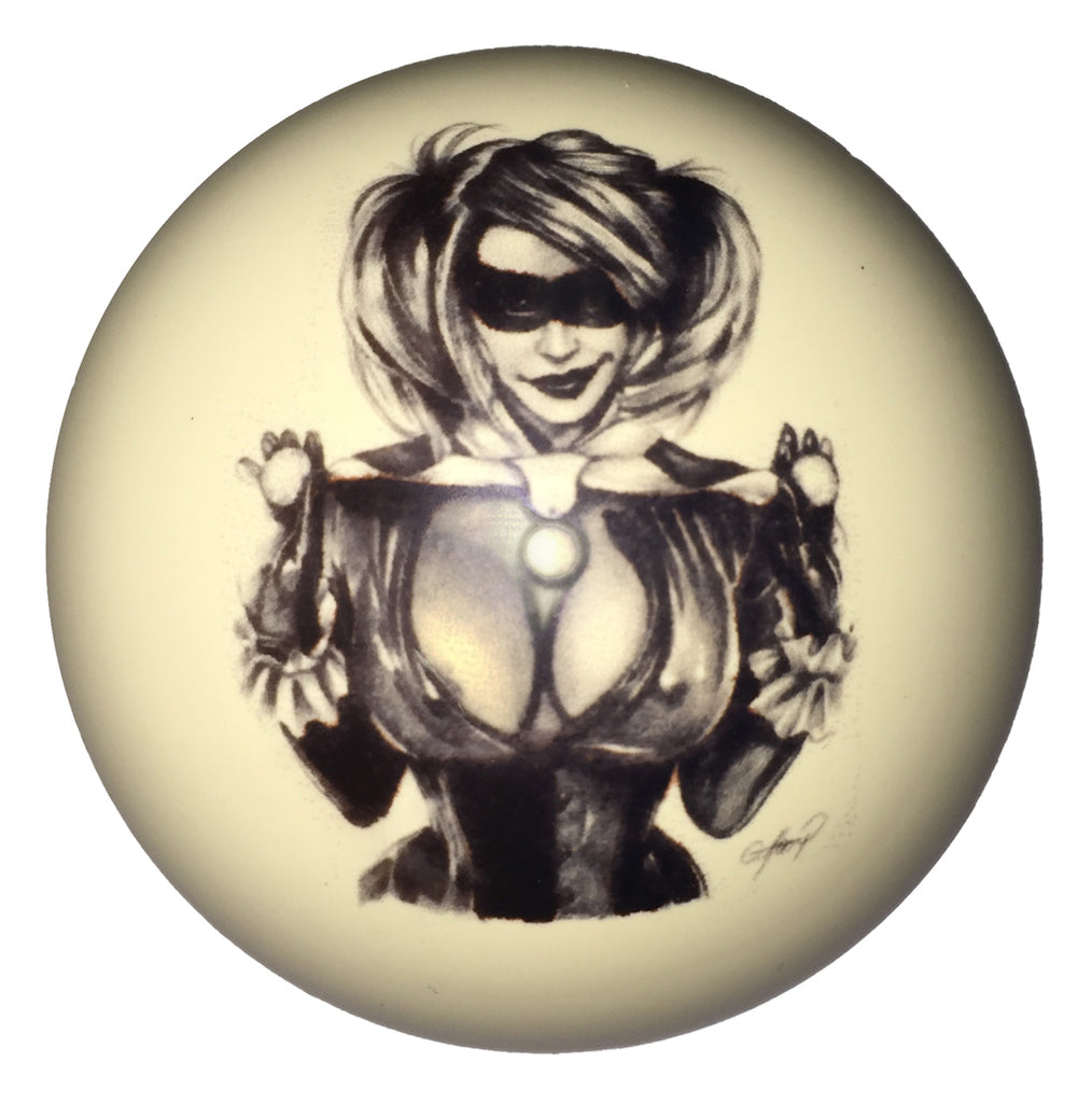 Juggling Girl Pin-Up Custom Cue Ball