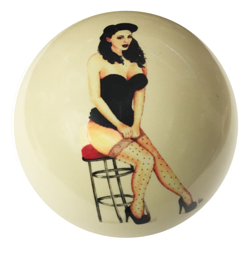 Bar Stool Girl Pin-Up Custom Cue Ball
