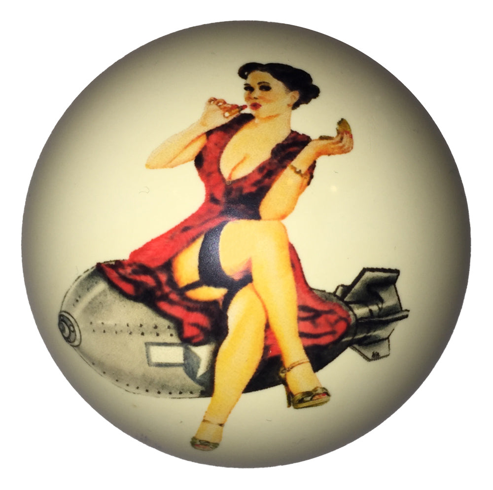 Blue Sky Red Dress Pin-Up Custom Cue Ball