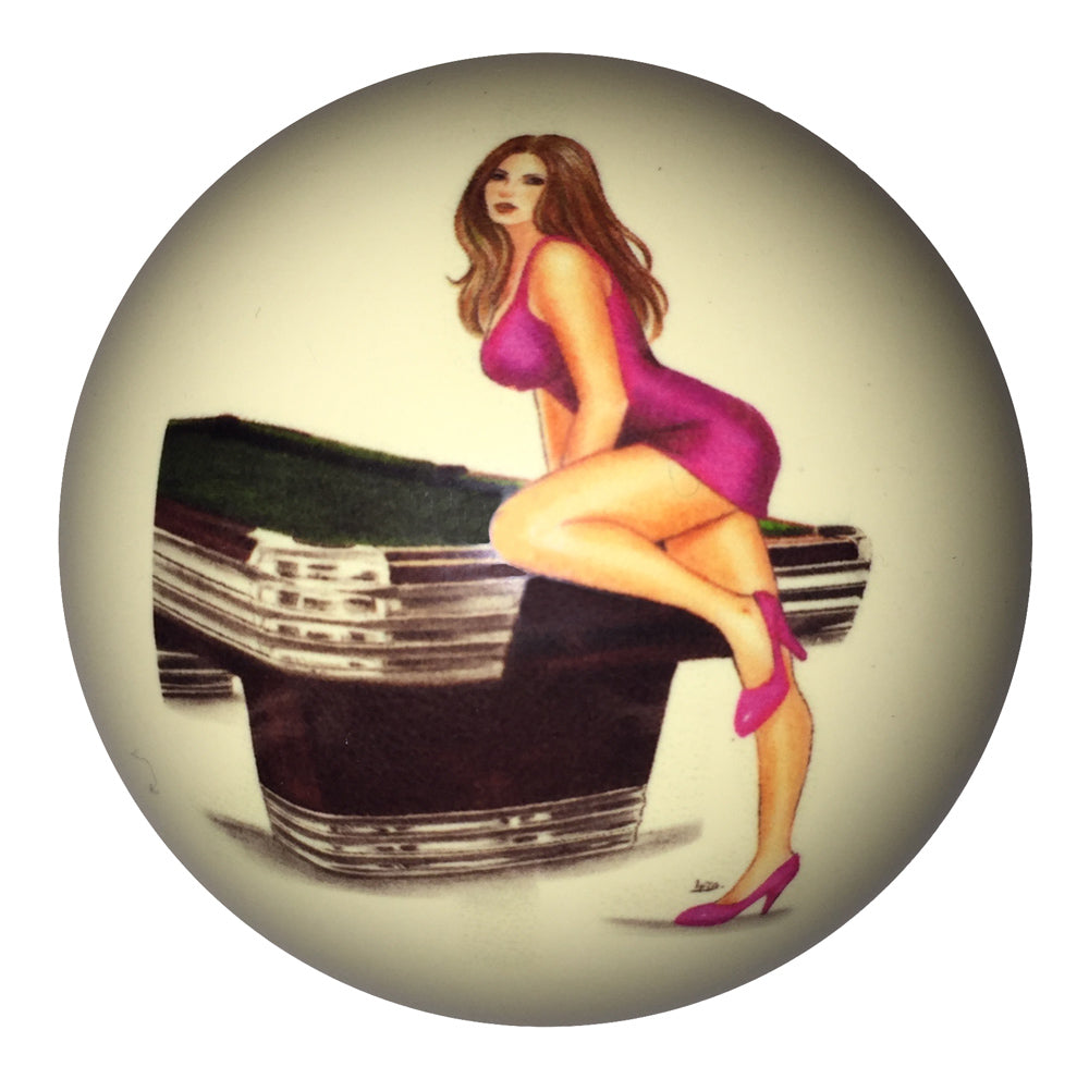 Pink Dress Girl with Centennial Pool Table Pin-Up Custom Cue Ball