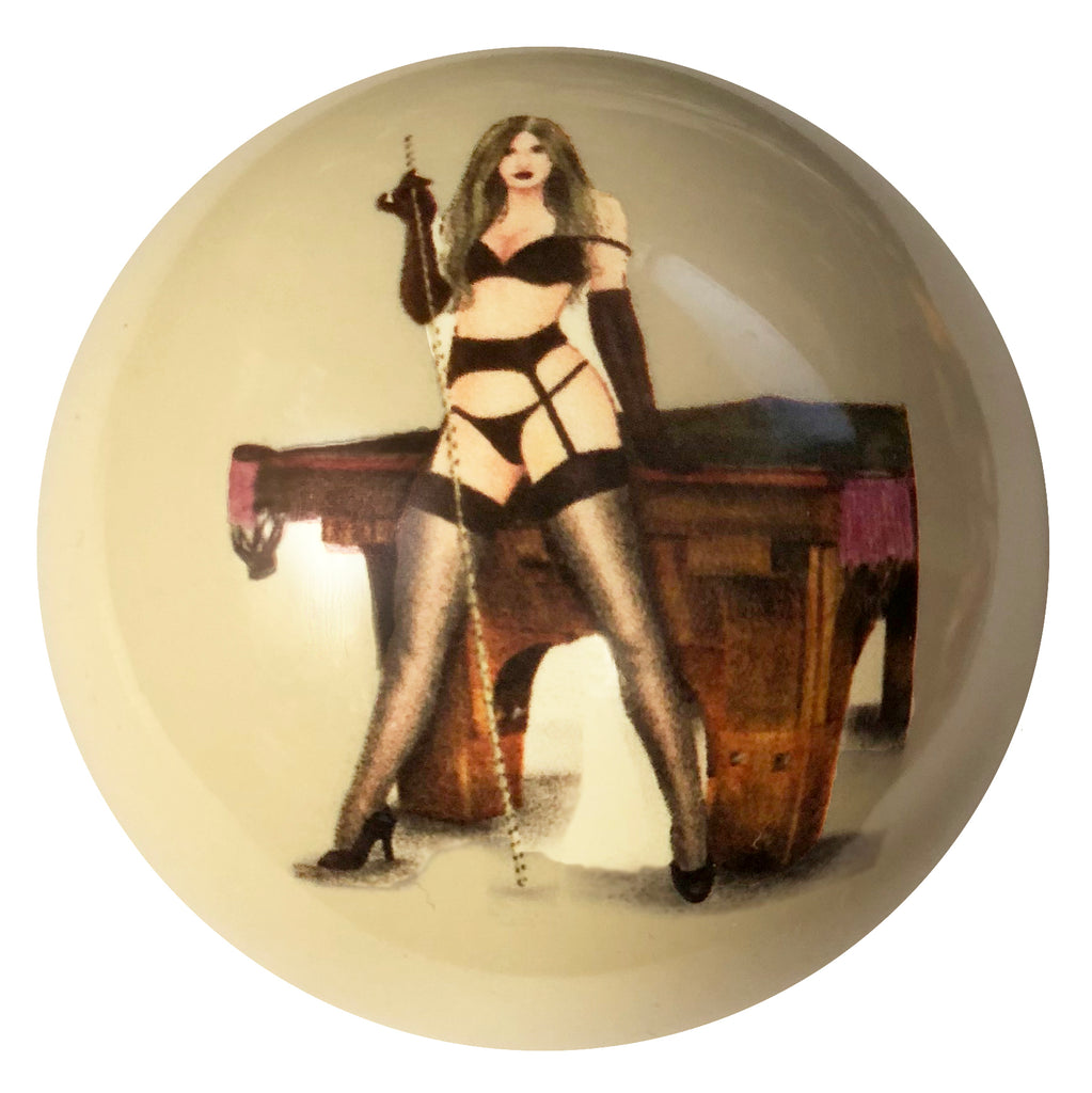 Pin-Up with Pool Table Custom Cue Ball