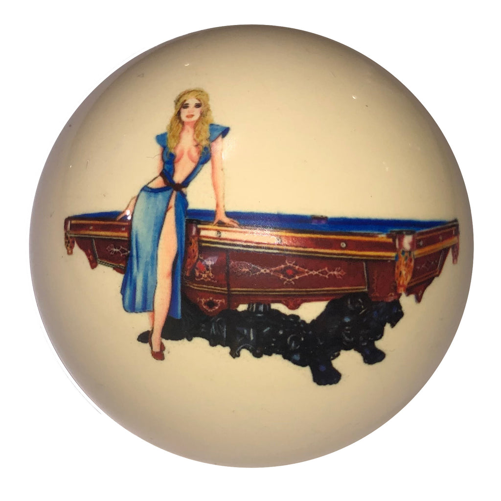 Blue Dress Pin-Up with Pool Table Custom Cue Ball