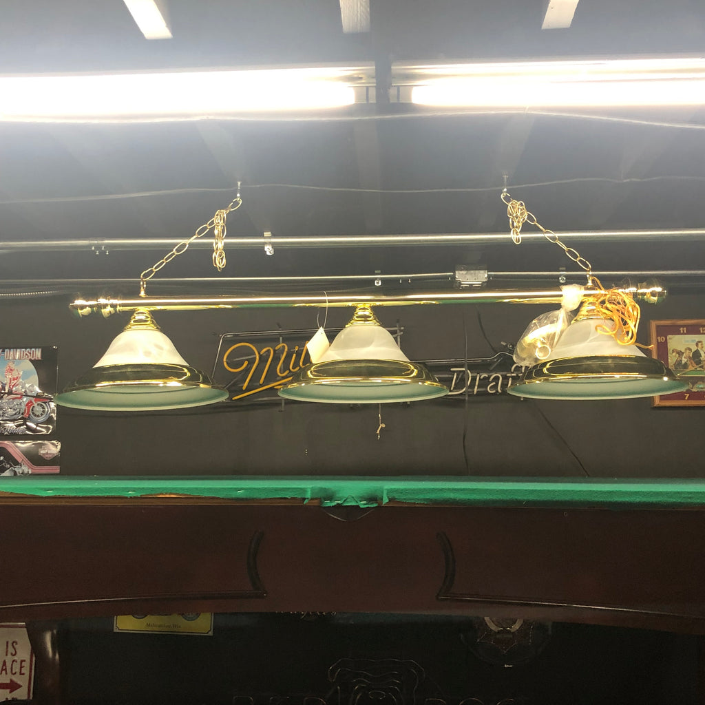 3 Shade Billiard Light Brass Bar with Glass and Brass Shades