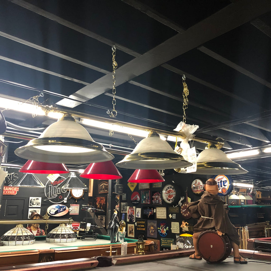 3 Shade Billiard Light Brass and Glass Shades