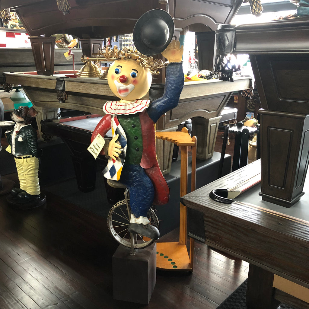 Unicycle Metal Clown Statue