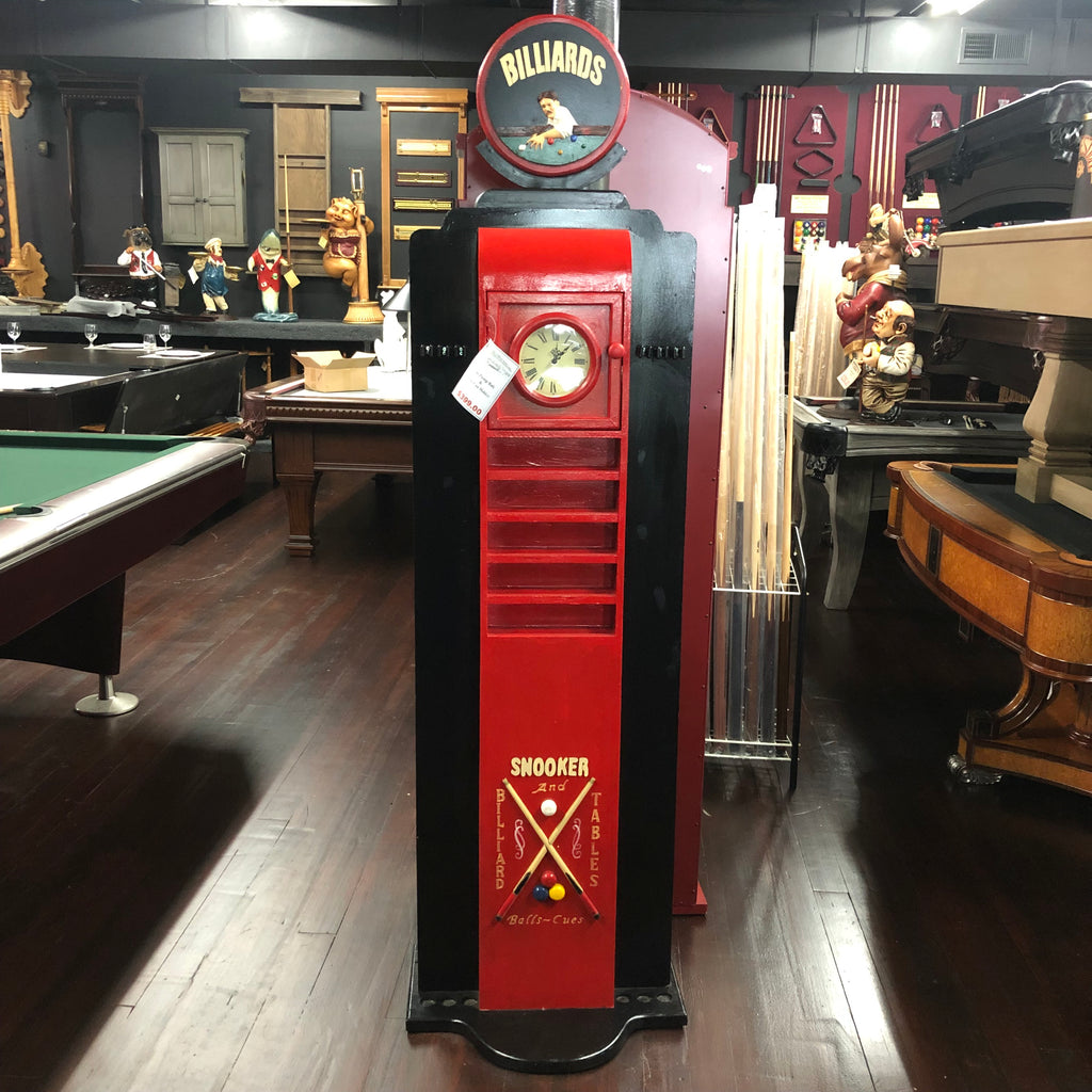 Billiards Whimsical Pool Cue Holder with Clock