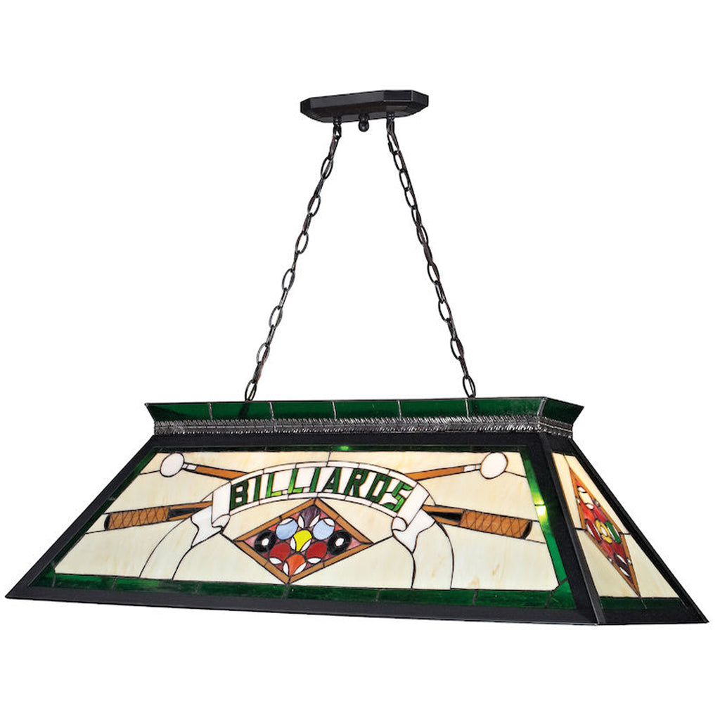 Stained Glass Green Billiards Light