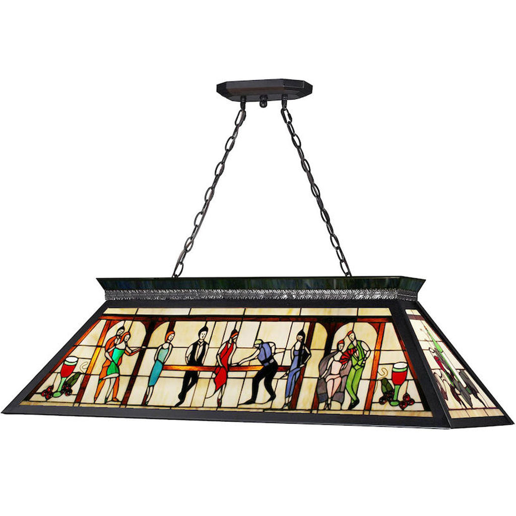 Stained Glass Billiard Light with Pool Room Scene