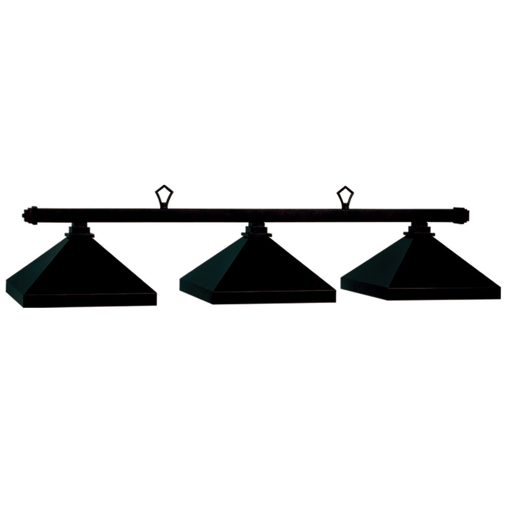 3 Shade Billiard Light with Square Matte Black Metal Shades