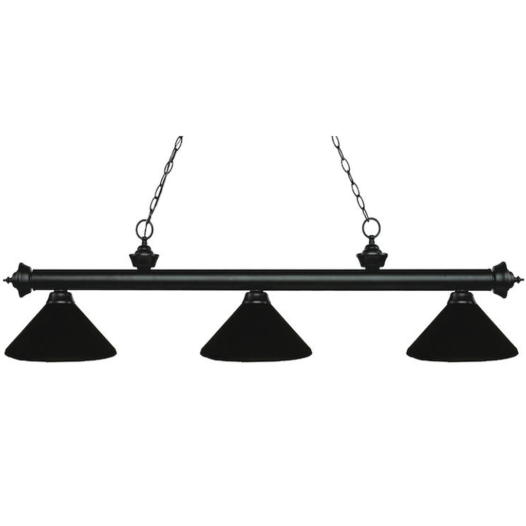 3 Shade Billiard Light Black Metal Shades