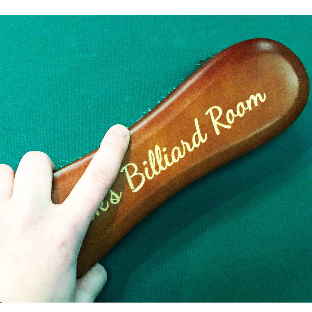 Alex Austin Wooden 10.5 inch Chestnut Billiard Pool Table Brush with Custom Engraving