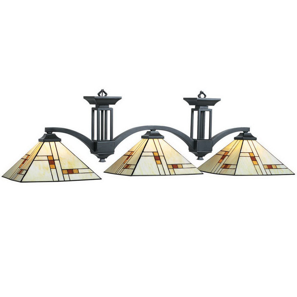 3 Shade Billiard Light with Mission Style Stained Glass