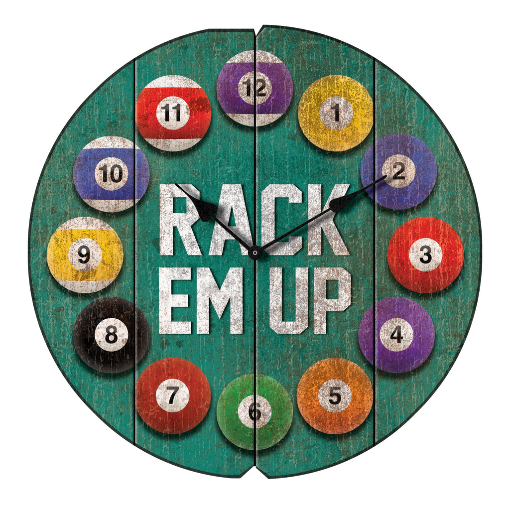 Vintage Rack 'Em Up Pool Ball Wall Clock