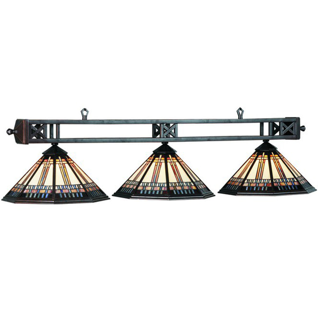 3 Shade Billiard Light with Ornate Stained Glass