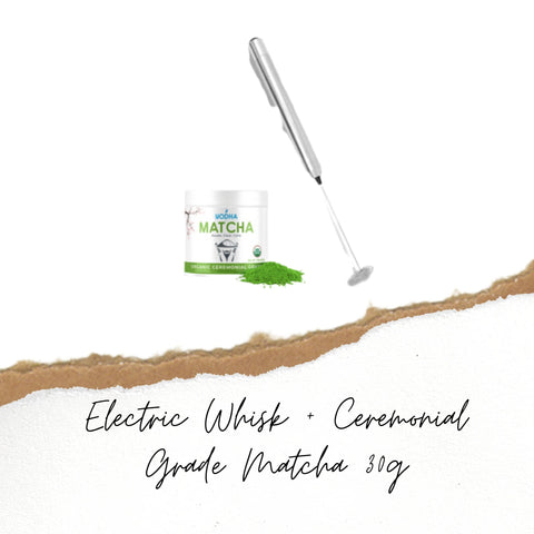electric whisk plus ceremonial grade matcha 30g