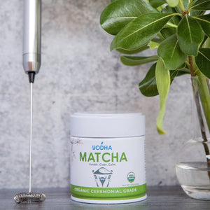 Dark Olive Green Electric Whisk + Ceremonial Grade Matcha (30g)