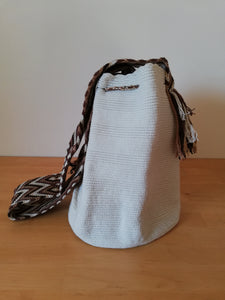 Authentic Handmade Mochilas Wayuu Bags-Blanco & Cafe Unicolour