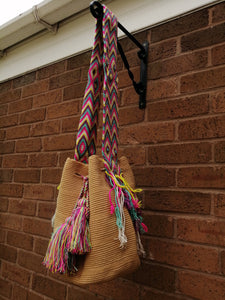 Authentic Handmade Mochilas Wayuu Bags - Unicolor Brown