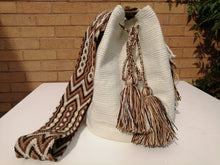 Load image into Gallery viewer, Authentic Handmade Mochilas Wayuu Bags-Blanco & Cafe Unicolour