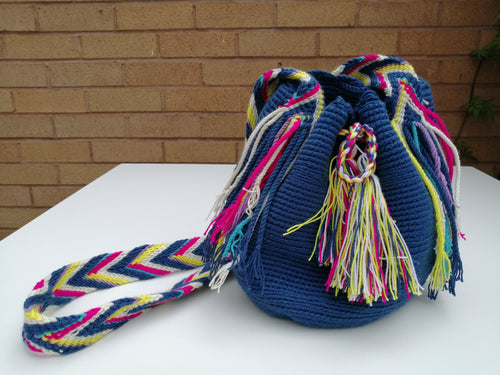 Authentic Handmade Mochilas Wayuu Bags - Small Blue 10