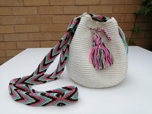 Authentic Handmade Mochilas Wayuu Bags - Small White