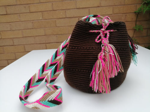 Authentic Handmade Mochilas Wayuu Bags - Small Brown 16