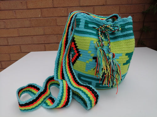Authentic Handmade Mochilas Wayuu Bags - Small Turquoise 11