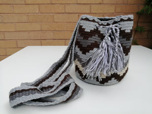 Authentic Handmade Mochilas Wayuu Bags - Small Gray 20