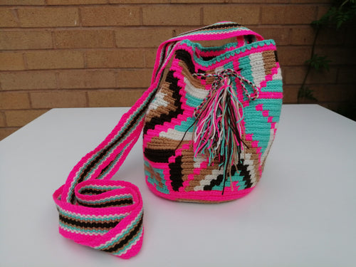 Authentic Handmade Mochilas Wayuu Bags - Small Pink 12