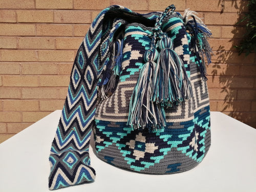 Handmade Cross-body Bags Mochilas Wayuu Collection Oceano Azul - Miraflores