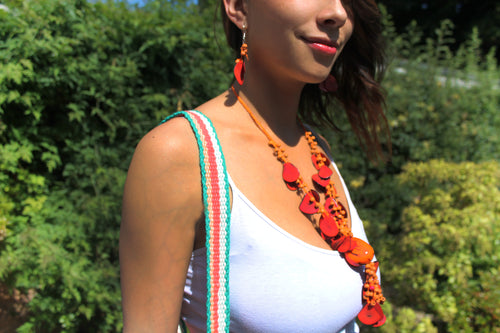 Beautiful Handmade Necklace made out Melon Seeds and Cotton Thread TAGUA **Includes Handmade Pair of Earrings**