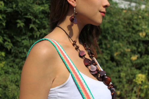 Beautiful Handmade Necklace made from Tagua and Cotton Thread Brown **Includes Handmade Pair of Earrings**