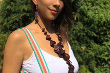 Load image into Gallery viewer, Beautiful Handmade Necklace made from Tagua and Cotton Thread Brown **Includes Handmade Pair of Earrings**