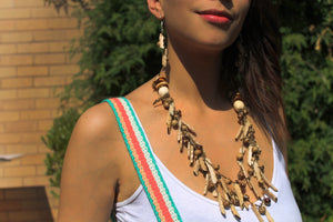Beautiful Handmade Necklace made from Tagua and Cotton Thread **Includes Handmade Pair of Earrings**