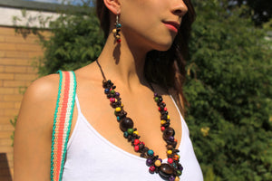 Beautiful Handmade Necklace made from Coffee Grain and Cotton Thread Brown **Includes Handmade Pair of Earrings**