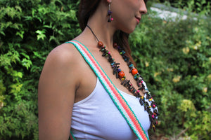 Beautiful Handmade Necklace made from Coffee Grain and Cotton Thread Brown II **Includes Handmade Pair of Earrings**