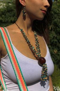 Beautiful Handmade Necklace made out Melon Seeds and Cotton Thread BROWN **Includes Handmade Pair of Earrings**