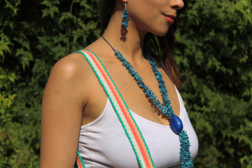Beautiful Handmade Necklace made out Melon Seeds and Cotton Thread AZUL **Includes Handmade Pair of Earrings**