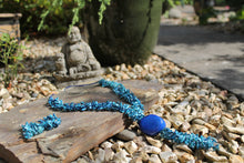 Load image into Gallery viewer, Beautiful Handmade Necklace made out Melon Seeds and Cotton Thread AZUL **Includes Handmade Pair of Earrings**