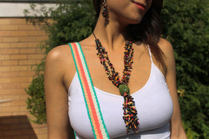 Beautiful Handmade Necklace made out Melon Seeds and Cotton Thread Multicolour**Includes Handmade Pair of Earrings**