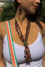 Load image into Gallery viewer, Beautiful Handmade Necklace made from Tagua and Cotton Thread Multicolour **Includes Handmade Pair of Earrings**