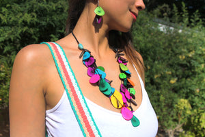Beautiful Handmade Necklace made from Tagua and Cotton Thread Multicolor II **Includes Handmade Pair of Earrings**