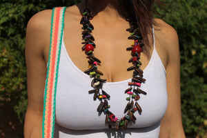 Beautiful Handmade Necklace made from Coffee Grain and Cotton Thread Brown