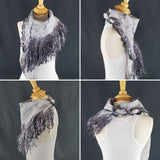 Elegance in Grey & Black Full Fringe - Designer Wrap