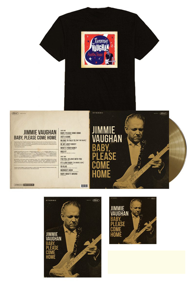 Jimmie Vaughan Signed Limited Edition Aztec Gold Vinyl Bundle w/ Austin Tee